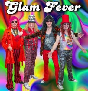 A brightly coloured of photo of four band members wearing 70s style clothes and wigs