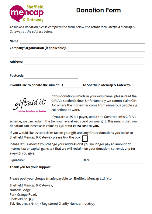 Donate to Sheffield Mencap